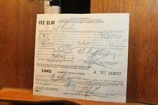 Vintage 1945 State of Minnesota Resident Fishing License