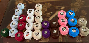29 DMC Cotton Pearle Spools 12 Size 8 and Size 5 Made in France Some NEW