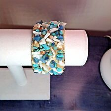 Cuff Bracelet Turquoise & other Semi Precious Chipped Stones by Elly Preston