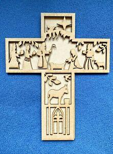 Wooden Traditional  Christmas Nativity Cross Blank Shape  high  Door Wall Plaque