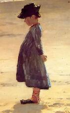 Oil painting peder severin kroyer - nina en la playa girl on the beach on canvas
