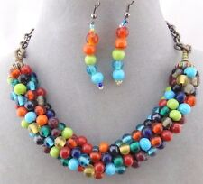 Multi Color Bead Row Necklace Earrings Set Gold Fashion Jewelry NEW