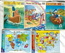 Vintage Frame Tray Puzzle Lot of 5 Donald Duck - Noah Ark - Poky - World Maps