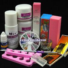 Simple Acrylic Nail Art Tips Kit Powder Liquid Brush Glue Dappen DIY Tools Sets