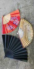 Lot of 3 bamboo & wood antique & vintage fans, mourning fan Japan, France