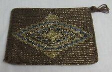 Brown Beaded Purse, Dressy Clutch, Evening Bag