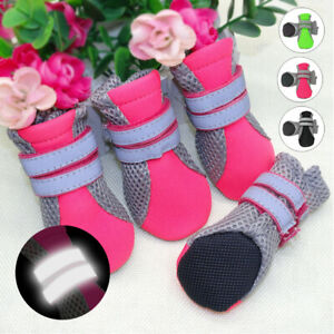 Soft Mesh Anti Slip Dog Shoes Pink Reflective Pet Dog Puppy Rain Boots Booties