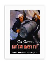 Guerre WWII US Navy sous-marin TNT bombe marin militaire Nouvelle Affiche Photo militaire