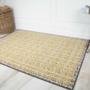 Ochre Yellow Herringbone Living Room Rugs Grey Bordered ZigZag Moroccan Rug SALE