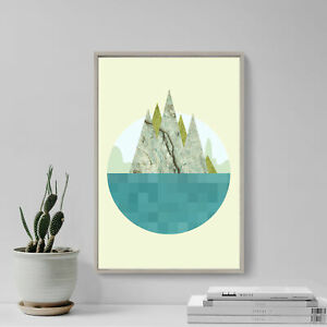"""Abstract Art Print """"ISLAND"""" Glossy Photo Poster Gift Mountains Sea Texture"""
