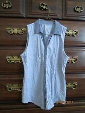 Womens Ann Taylor LOFT Sleeveless Collar Button Shirt XSP Petite