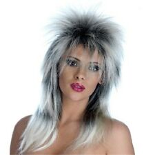 Black And Silver Glam Rock Wig - Fancy Dress 80s Ladies Tina Turner Costume