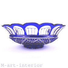 Baccarat Kristall Schale,Cut Blue Clear Crystal Bowl Jardiniere, France 19th