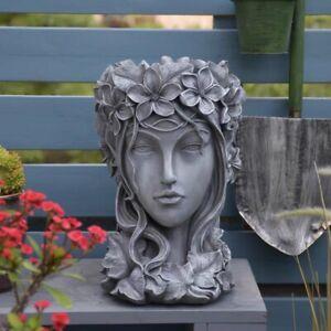 Concrete Moon Goddess Head Planter Big Elegant Succulent Flower Pot Brand New