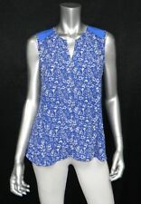 NOT YOUR DAUGHTER'S JEANS NWT Blue/White Sleeveless V-Neck Top Blouse sz XS $88