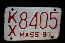 1987 MASSACHUSETTS License Plate * Motorcycle ***  MC ** '87 MASS