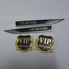 2PCS Golden Carbon Fiber VIP MOTORS Emblem Sticker + Pair Silver New Badge rs #6