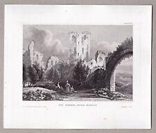 Nassau Lahn - Ruine der Stammburg - Stich, Original Stahlstich um1845