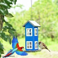 House Shape Bird Feeder Blue Weatherproof Make Your Home a Meeting Place New