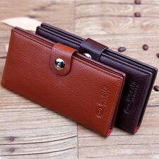 Men's Luxury Quality Top Leather money Long Wallet Credit Card Holder Purse UK