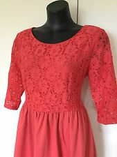 Size 16 Smart Flattering Coral Lace Detailed Dress