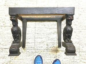 Vintage Horner table 1920s carved cats w/trim marble top missing antique collect