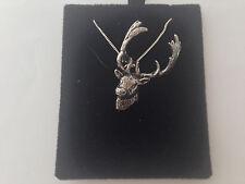 A63 a riposo DEER HEAD su un Argento Sterling 925 collana realizzata a mano 16 cm catena