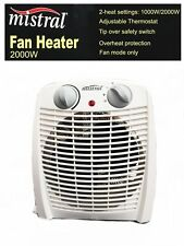 Mistral 2000W Fan Heater with Adjustable Thermostat Over Heat Protection 2 set