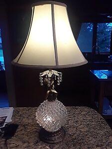 Imperial Lighting Cherub Cut Glass & Brass Vintage Lamp 3 Way light Mid-Century