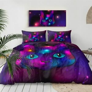 Galaxy Cat Animal Pet Space King Queen Twin Quilt Duvet Pillow Cover Bed Set