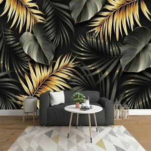 Hand Painted Tropical Plant Leaves Custom Mural Nordic Wall Painting Wallpaper