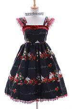 JSK-04-1 Hase Erdbeer Rabbit Bunny Schwarz Gothic Lolita Kleid Stretch Cosplay