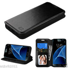 BLACK FOLIO POUCH FLIP COVER W/ CARD SLOTS+STAND CASE FOR SAMSUNG GALAXY S7