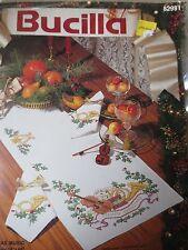no count stamped cross stitch kit Bucilla Christmas Music Tablerunner htf