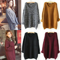 Womens Long Batwing Sleeve Oversized Baggy Knitted Jumper Loose Sweater Cardigan