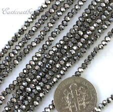 Rondelle Beads, 2x2.25mm, Metallic Silver, w/AB Finish, Czech Beads, 100 Pcs