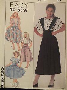Amazing VTG SIMPLICITY 9528 Girls Flared Skirt & Top PATTERN 7-8-10-12-14 UC