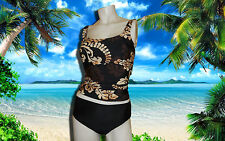 NWT GOTTEX Power Brown Square Neck FLORAL TANKINI SWIMSUIT BATHING SUIT SET - 10