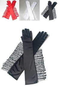 Sexy Satin Gloves with tassels Evening Party Costume 1920 Cowboy Christmas Party