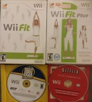3x LOT Nintendo Wii Games - Wii Fit, Fit Plus, Biggest Loser Challenge + Netflix