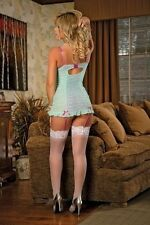 Bustier Chemise and G-String Set New Adult Womens Valentine Lingerie Aqua Large