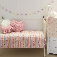 Pink Ruffle Millie Frill Shabby Chic Baby Girls Cot Quilt Coverlet Nursery