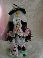 """OOAK Altered in Shabby Chic Halloween Decor Cute Witch with Ghosts 13"""" tall"""