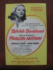Tallulah Bankhead In Foolish Notion Vtg 1945 American Theatre ST LOUIS MO Flyer