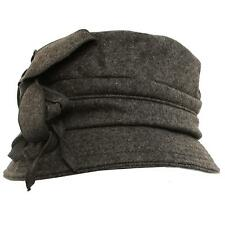 Winter Wool Floral Leaves Crushable Foldable Bucket Cloche Church Hat Cap Gray