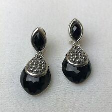 NEW LAGOS MAYA Double Drop Teardrop Silver Caviar Black Onyx Earrings $495