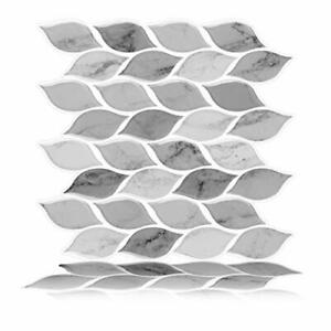 25cm x 25cm, 6-Sheets Peel and Stick Self Adhesive 3D Wall Tile (Marble Grey)