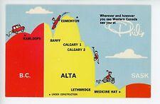 Vintage Phils Restaurant Advertising Card CALGARY Banff KAMLOOPS Lethbridge MAP