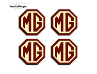 MGF Alloy Wheel Centre Cap Emblem Badges Burgundy Cream 45mm Logo Hub Cap Badge