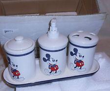 DISNEY AMERICAN MICKEY BATH ACCESS SET NIB SOAP/LOTION PUMPER GLASS BRUSH HOLDER